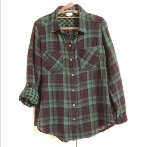 Westbound green and navy plaid button down shirt.